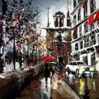Красные зонтики художника Kal Gajoum