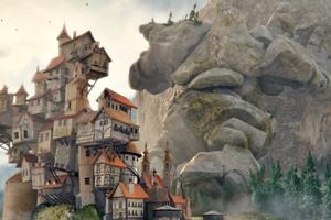 Анимация: каменный гигант спасает город от огромного валуна