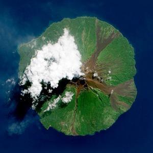 Как выглядит из космоса извержение вулкана