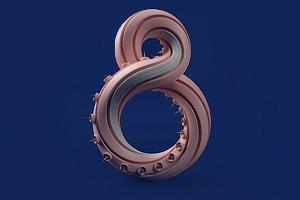 Дизайнер создал абстрактные объекты на основе цифр