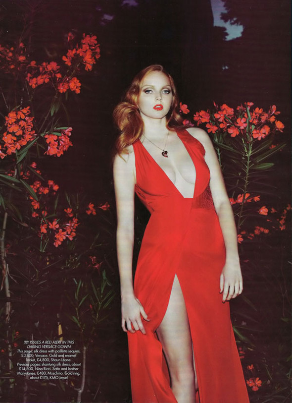 Lily Cole by Guy Aroch for Harpers Bazar UK October. Изображение № 4.