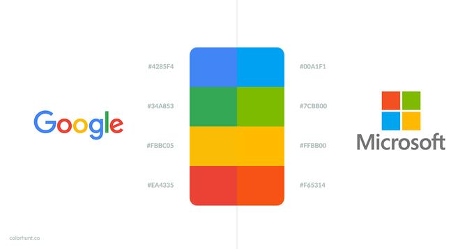 В Color Hunt сравнили цвета Google и Microsoft . Изображение № 1.