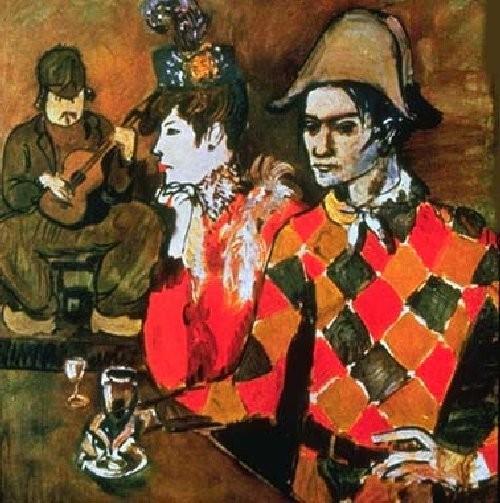 Пабло Пикассо, Автопортрет в костюме Арлекина в кафе. Изображение № 31.
