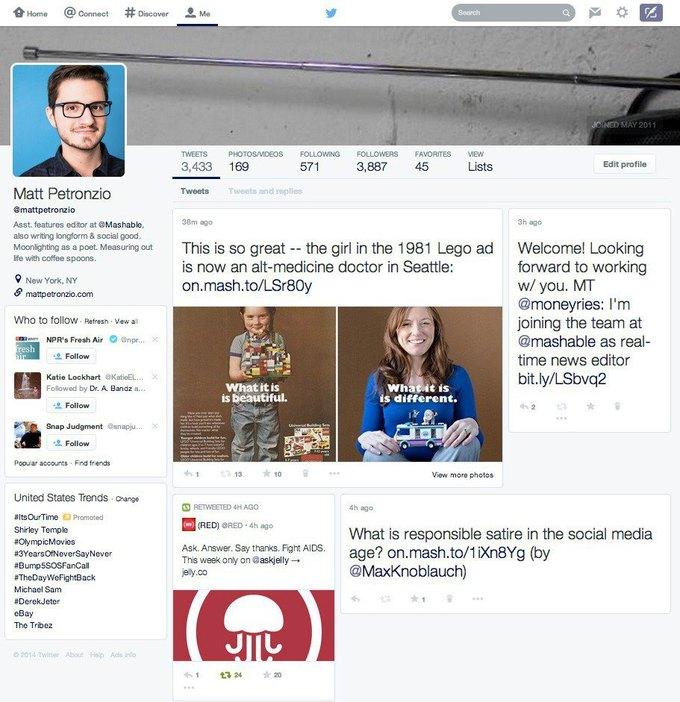 Twitter тестирует новые профили пользователей. Изображение № 1.