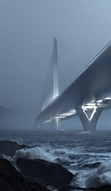 Бюро Захи Хадид создало вантовый мост c одной мачтой. Изображение № 2.