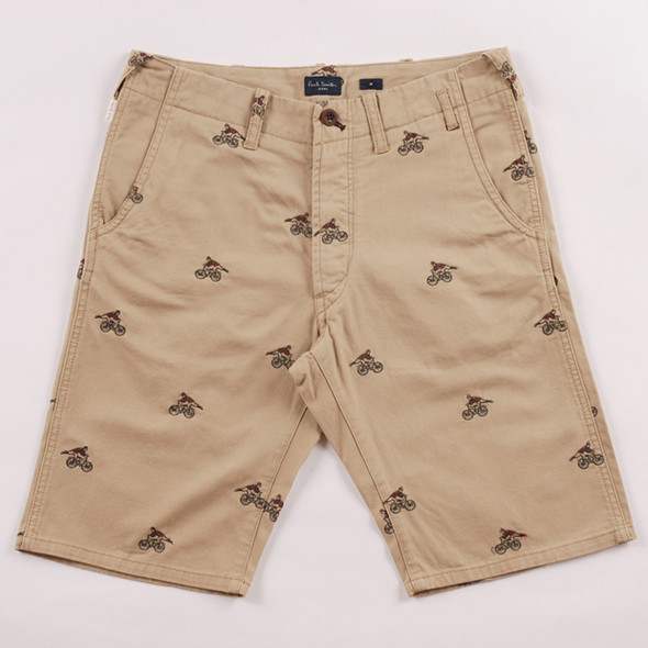 PAUL SMITH JEANS SS12 CYCLIST EMBROIDERED SHORTS. Изображение № 1.