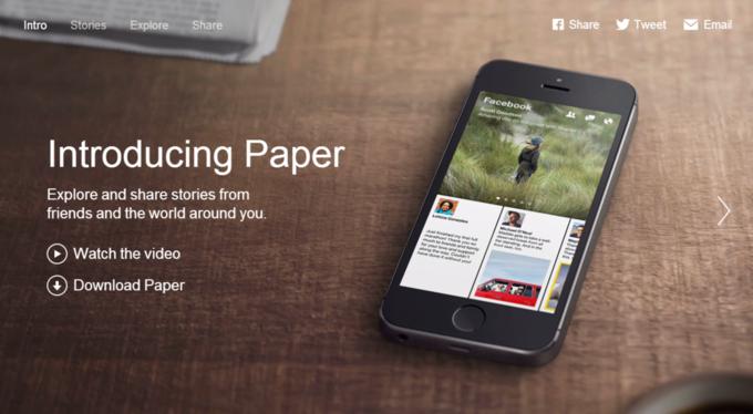 Главная страница сайта приложения Paper разработки Facebook. Изображение № 2.