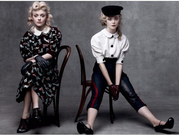 Эль и Дакота Феннинг в съёмке Vogue, август 2011. Изображение № 29.