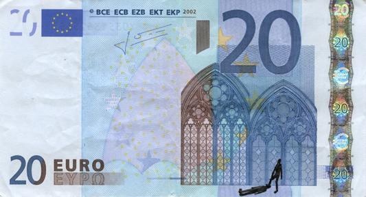 Художник в знак протеста изрисовал банкноты на 3555 евро. Изображение № 48.