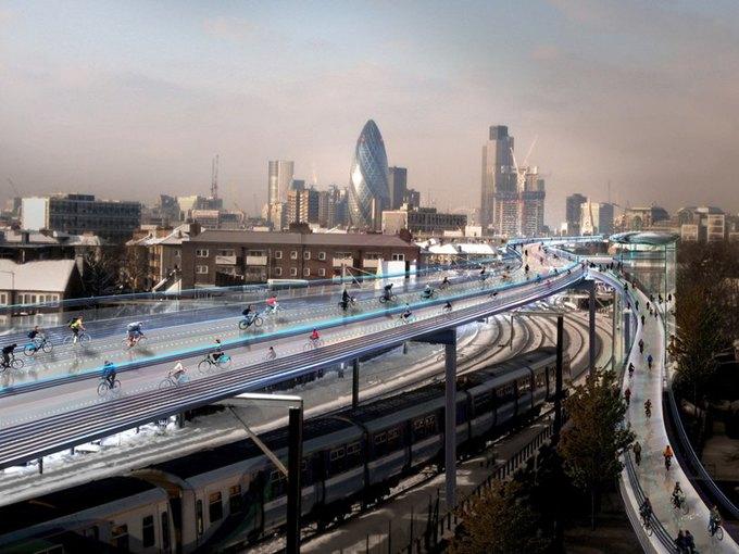 В Лондоне построят воздушную велотрассу. Изображение № 1.