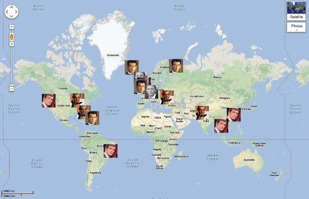 The Guardian создает карту перемещений Джеймса Бонда. Изображение № 1.