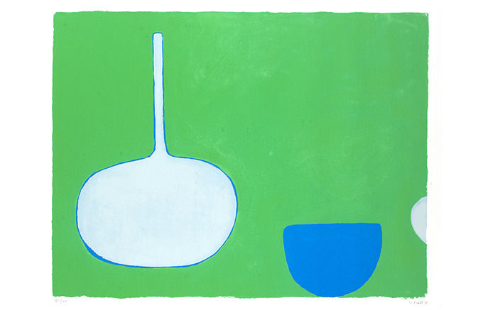 William Scott, Bottle and bowl, blues on green,1970. Изображение № 7.