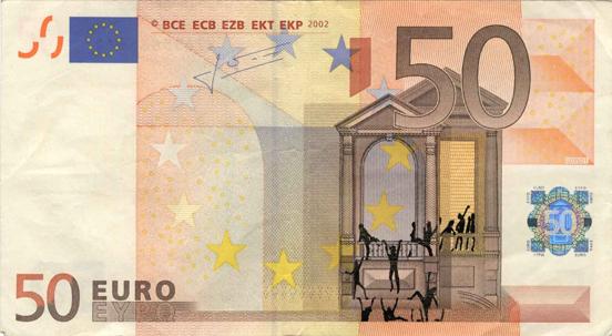 Художник в знак протеста изрисовал банкноты на 3555 евро. Изображение № 29.