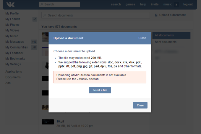 «ВКонтакте» закрыла загрузку MP3 в«Документы». Изображение № 1.
