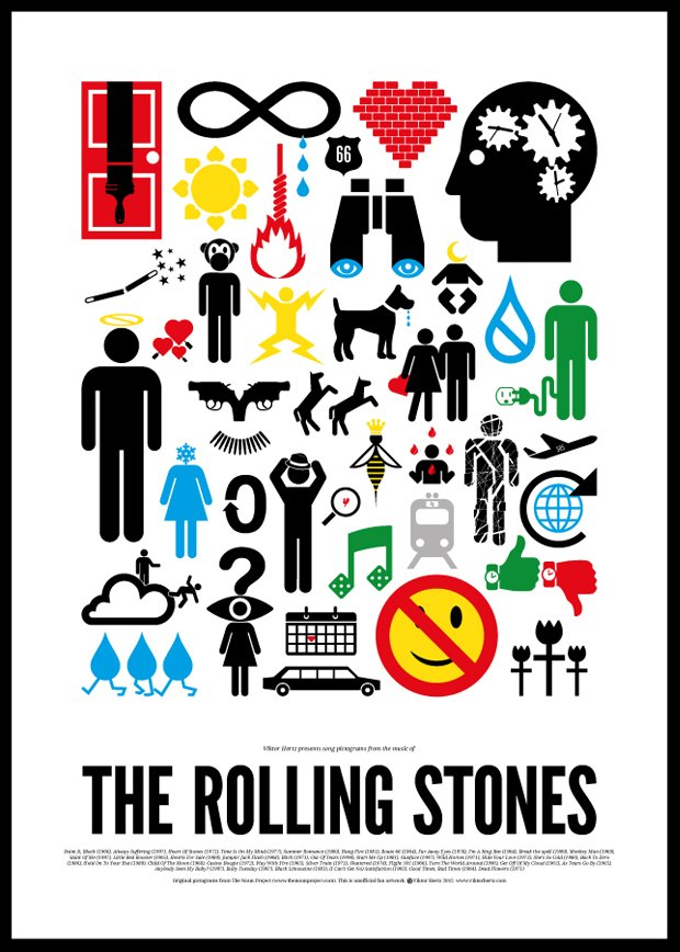 Песни икон рок-музыки изображены в виде пиктограмм. Изображение № 8.