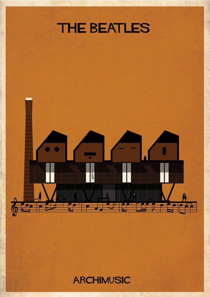 Испанский архитектор превратила песни в здания для новой серии плакатов . Изображение № 3.