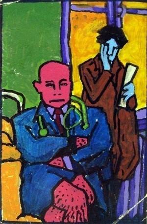 Георгий Гурьянов, Без названия, 8х11см, бумага/акрил, 1980-е гг.. Изображение № 10.