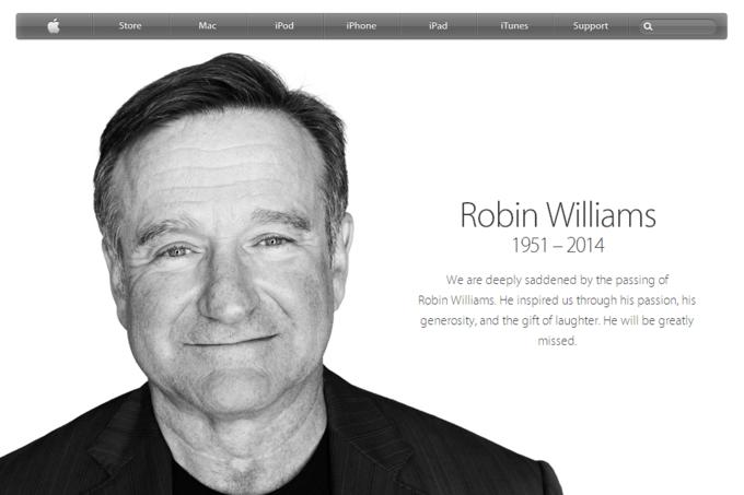 Apple вывесила страницу памяти Робина Уильямса . Изображение № 1.