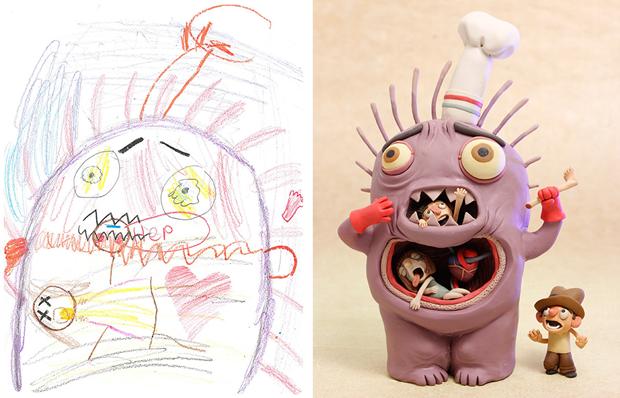 Художники создали монстров наоснове детских рисунков. Изображение № 1.