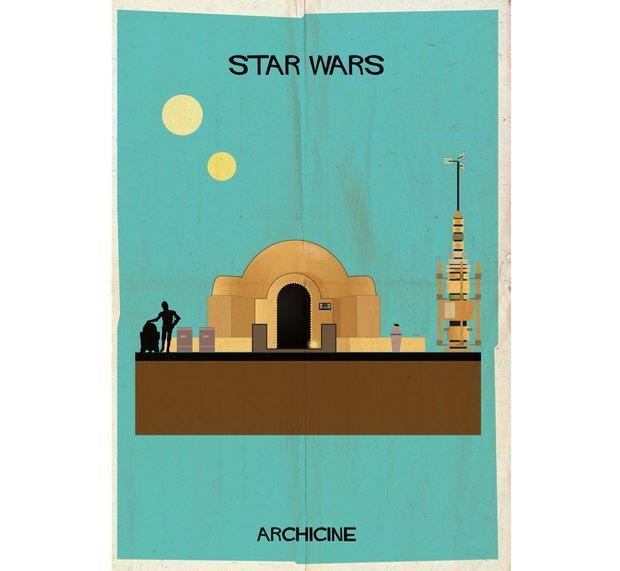 Художник нарисовал архитектурные постеры классических фильмов. Изображение № 6.
