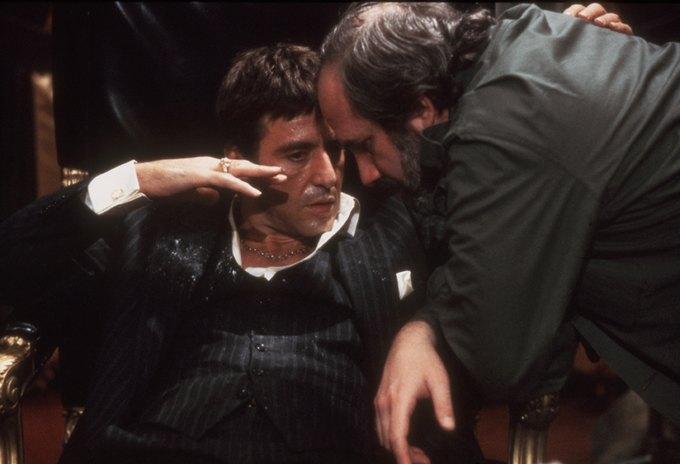 Пачино и де Пальма на съемках «Лица со шрамом». Изображение № 1.