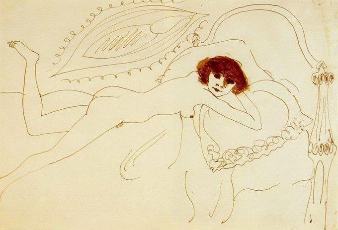 Книга с рисунками Пабло Пикассо также хранится в библиотеке. На фотографии — рисунок Nu Couche Пабло Пикассо, 1901 год. Изображение № 2.