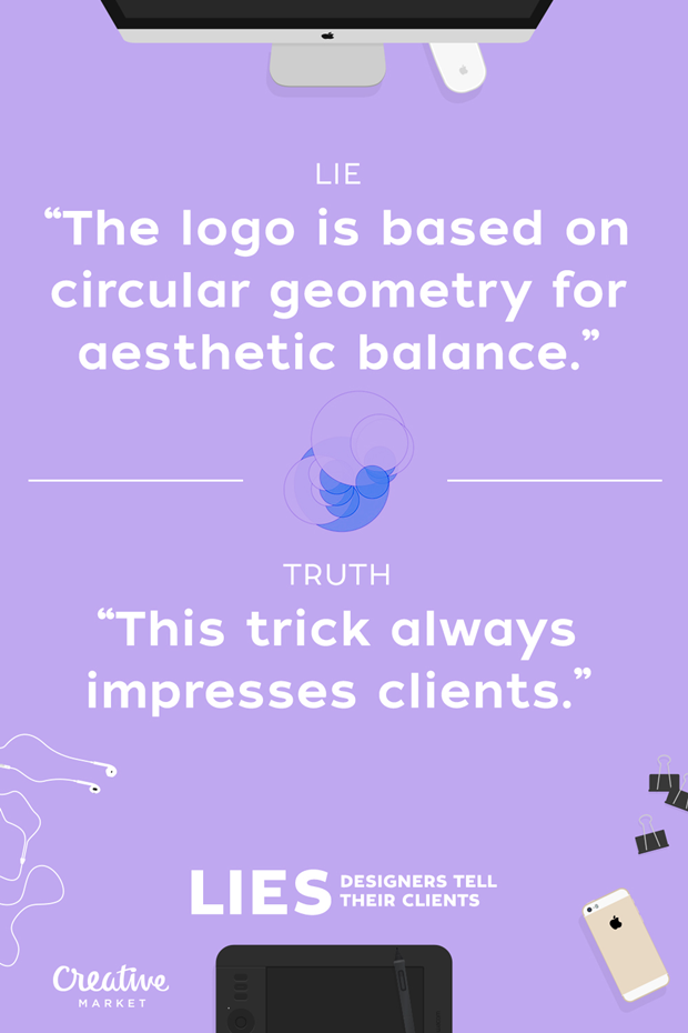 Ложь: «Логотип построен по геометрии окружностей для эстетического равновесия» — Правда: «Этот трюк всегда впечатляет клиентов» . Изображение № 16.
