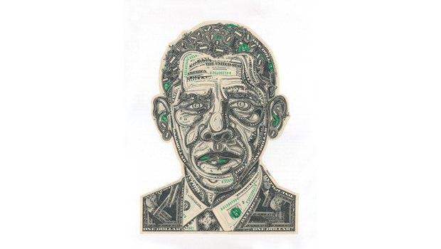 Художник создаёт коллажи из долларов. Изображение № 1.