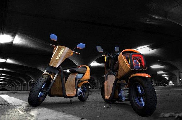 Деревянный скутер Ecomoto работает на воздухе. Изображение № 2.