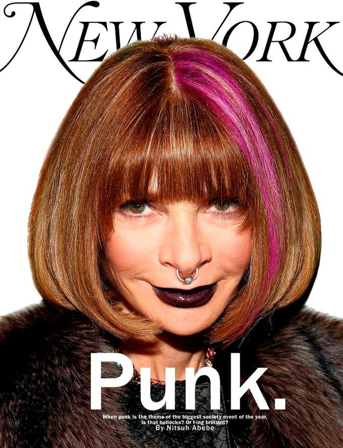 Анна Винтур появилась в образе панка на обложке New York Magazine. Изображение № 1.