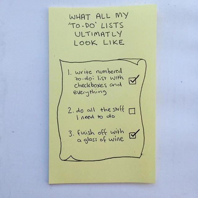 «Как выглядят все мои списки дел»: «1. Написать пронумерованный список с местами под галочки», «2. Сделать все дела из списка», «3. Закончить с бокалом вина». Изображение № 20.
