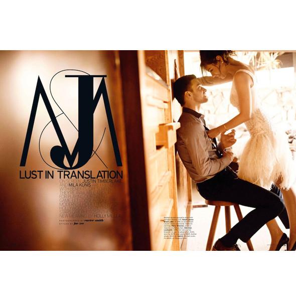 Съёмка: Мила Кунис и Джастин Тимберлейк для Elle. Изображение № 1.