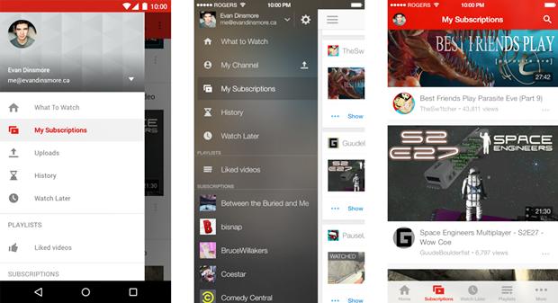 Навигация в приложении YouTube для Android (слева), iPhone (по центру) и для iPhone в версии автора. Изображение № 3.
