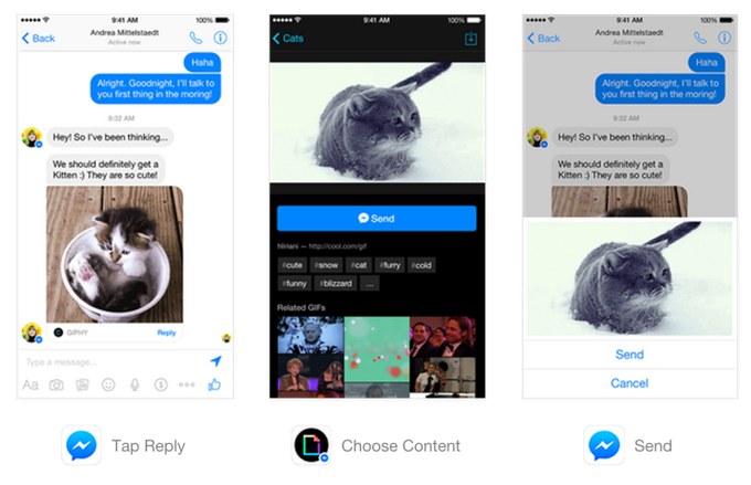 Facebook интегрирует сторонние приложения в Messenger. Изображение № 1.