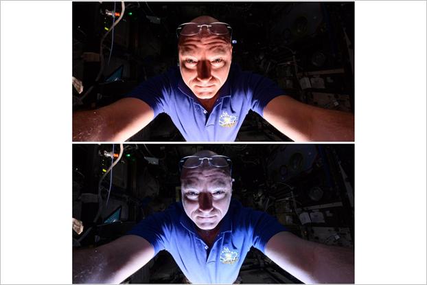 Астронавт сравнил селфи надпустыней и над морем. Изображение № 1.
