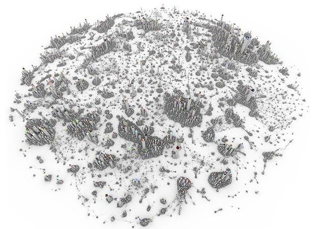 Интерактивная инфографика показала соцсети в виде городов. Изображение № 1.