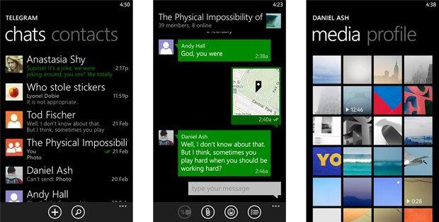 Telegram получил статус официального клиента для Windows Phone. Изображение № 1.