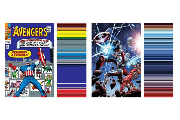 Инфографика показала палитру вкомиксах о Мстителях за 52 года . Изображение № 1.