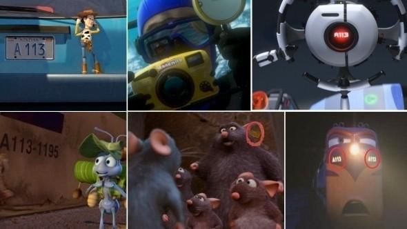 Студия Pixar любит использовать пасхальные яйца больше всех в современном кино. Счет спрятанных вещей идет на десятки, а приемы повторяются из мультфильма в мультфильм. Например, номер A113, который висел на классной комнате будущих основателей Pixar в Калифорнийском колледже.. Изображение № 1.