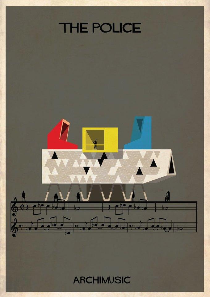 Испанский архитектор превратила песни в здания для новой серии плакатов . Изображение № 6.