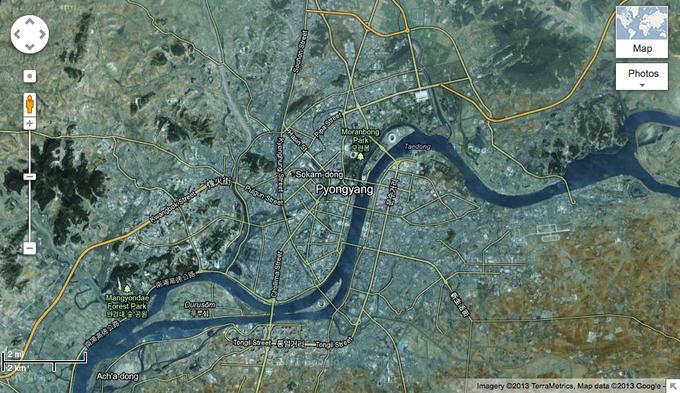 В Google Maps появилась детальная карта Северной Кореи. Изображение № 1.