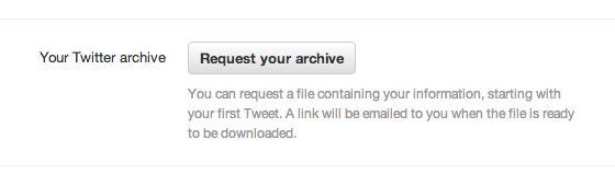 Скриншот функционала скачивания архива твитов. Изображение № 1.