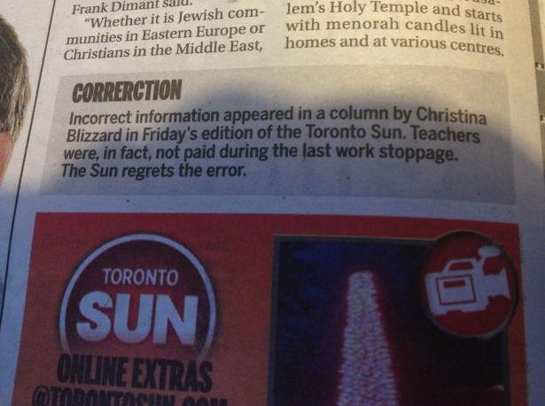 Журналисты Toronto Sun ошиблись в колонке исправления ошибок. Изображение № 1.