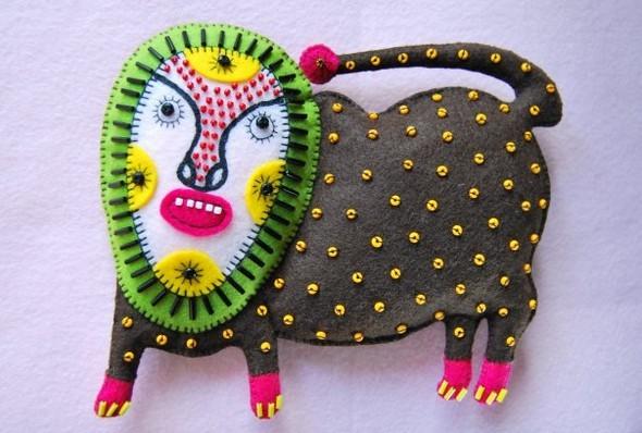 Львы с человеческим лицом. Мария Приймаченко. Изображение № 9.