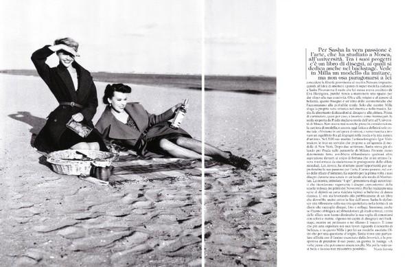 Архивная съёмка: Мила Йовович и Саша Пивоварова для Vogue, 2009. Изображение № 2.