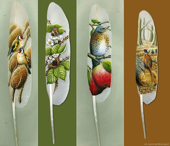 Рисунки на перьях от Ян Дави. Изображение № 7.