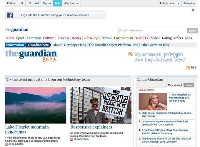 Beta-версия The Guardian. Изображение № 1.