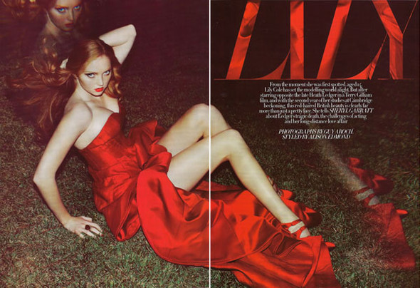 Lily Cole by Guy Aroch for Harpers Bazar UK October. Изображение № 3.
