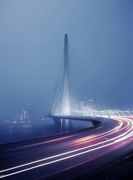 Бюро Захи Хадид создало вантовый мост c одной мачтой. Изображение № 1.