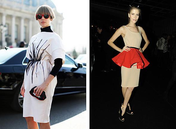 Платья Vika Gazinskaya FW 2011: слева — на самой Вике, справа — на Елене Перминовой, редакторе моды журнала Pop. Фотографии: nytimes.com, harpersbazaar.com. Изображение № 2.